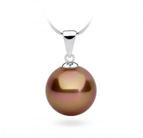 Wisiorek różowy-złoty perła 14 mm