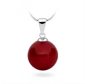 Wisiorek czerwony perła 14 mm