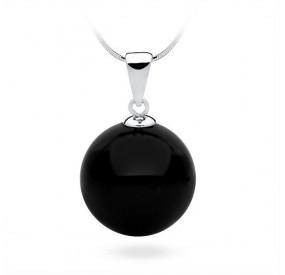 Wisiorek czarny perła 16 mm