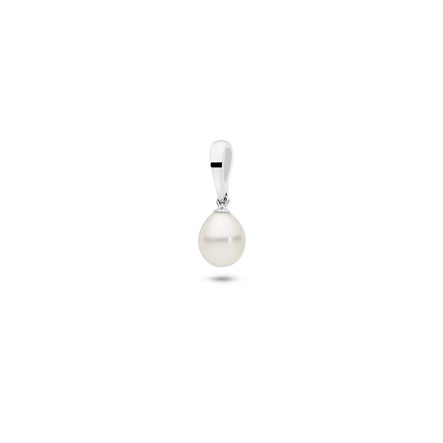 Wisiorek biały perła 8 x 10 mm