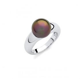 Pierścionek brązowy-ciemny perła 10 mm