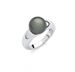 Pierścionek zielony-butelkowy perła 10 mm