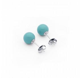 Kolczyki kolor turkusowy perła 6 mm