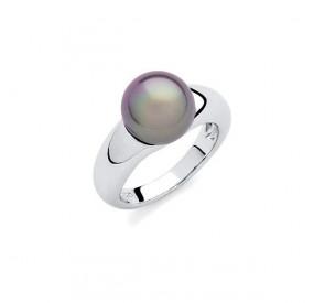 Pierścionek beżowy-cappucino perła 10 mm
