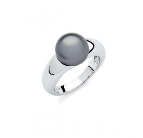 Pierścionek grafitowy perła 10 mm