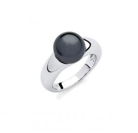 Pierścionek czarny perła 10 mm