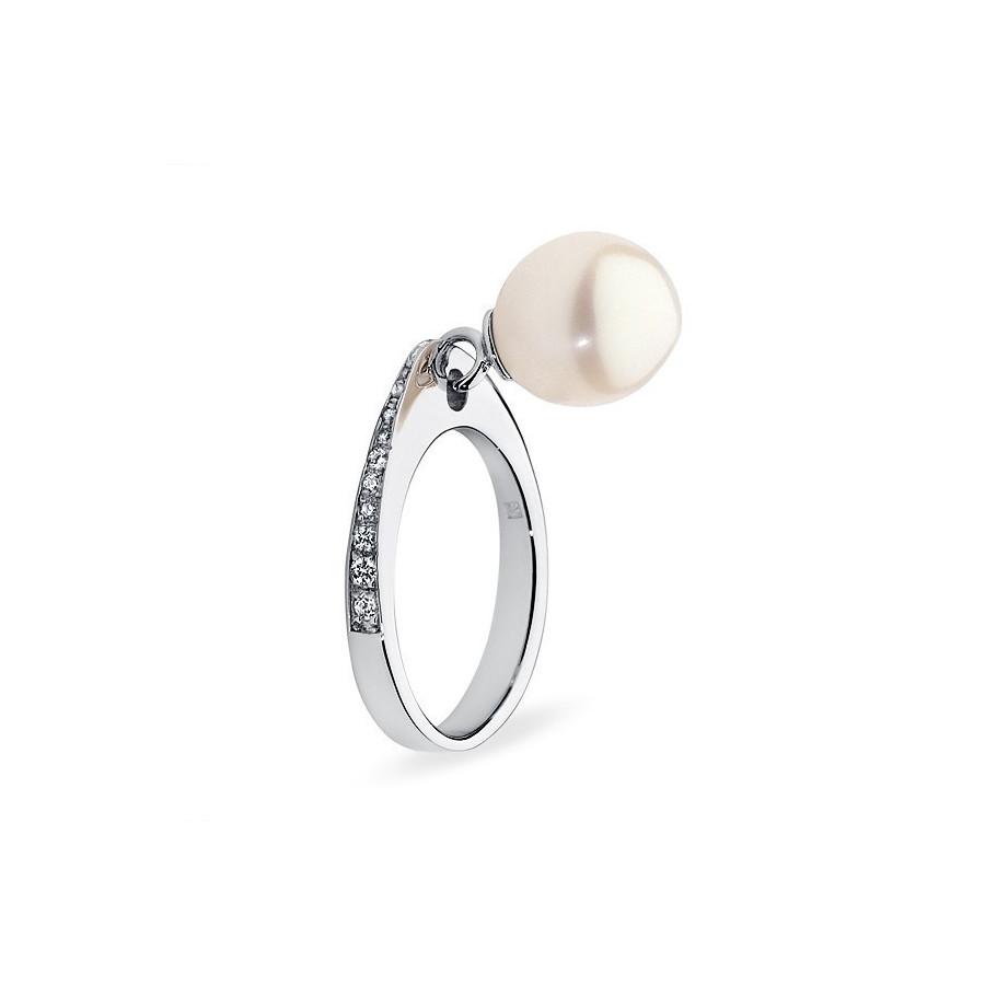 Pierścionek biały cyrkonie perła 8 mm
