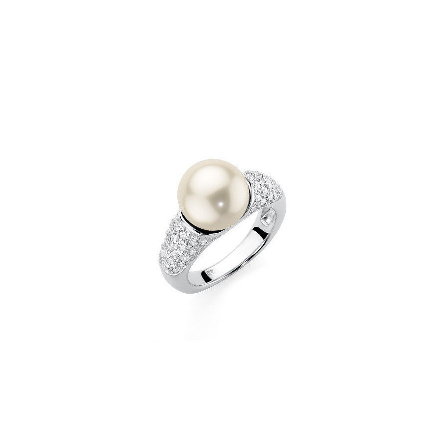 Pierścionek kremowy cyrkonie perła 10 mm
