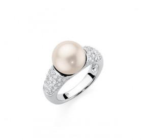Pierścionek różowy-jasny cyrkonie perła 10 mm