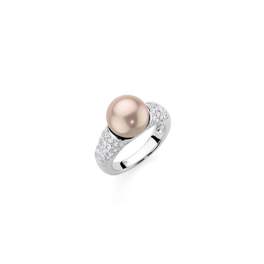 Pierścionek różowy-pudrowy cyrkonie perła 10 mm
