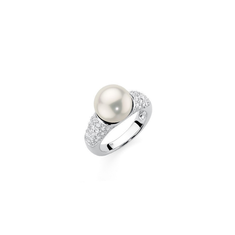 Pierścionek biały cyrkonie perła 10 mm