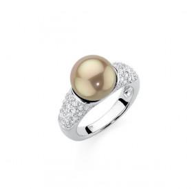Pierścionek złoty cyrkonie perła 10 mm
