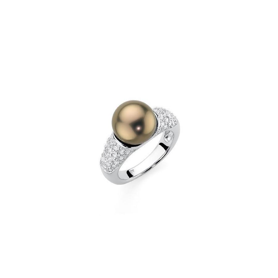 Pierścionek złoty-antyczny cyrkonie perła 10 mm