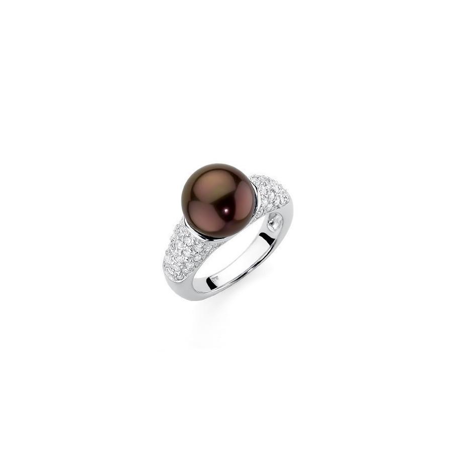 Pierścionek brązowy-ciemny cyrkonie perła 10 mm