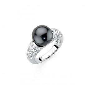 Pierścionek grafitowy-ciemny cyrkonie perła 10 mm