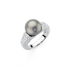 Pierścionek srebrny cyrkonie perła 10 mm