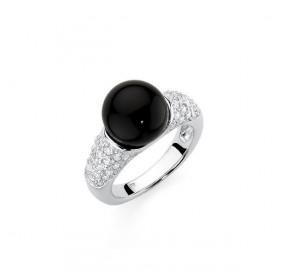Pierścionek czarny cyrkonie perła 10 mm