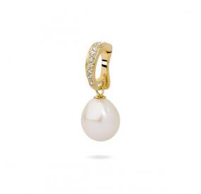 Charms biały cyrkonie perła 10 mm