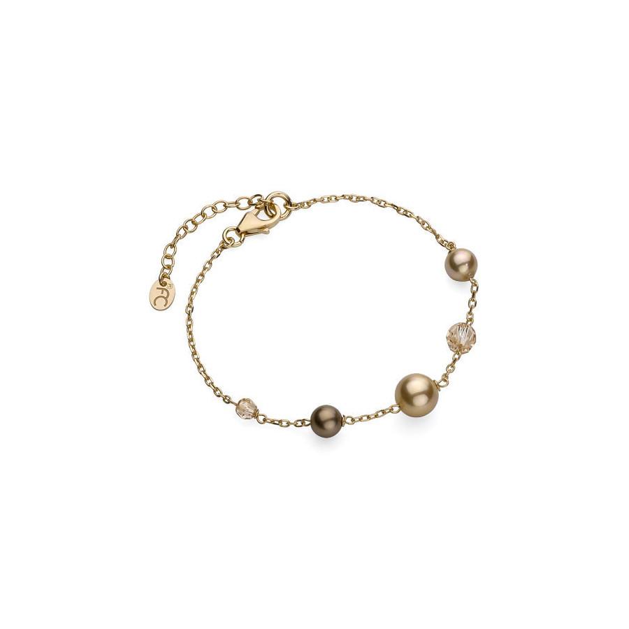 Bransoletka kolor złoty kryształ Swarovski perła 4 mm 6 mm 8 mm