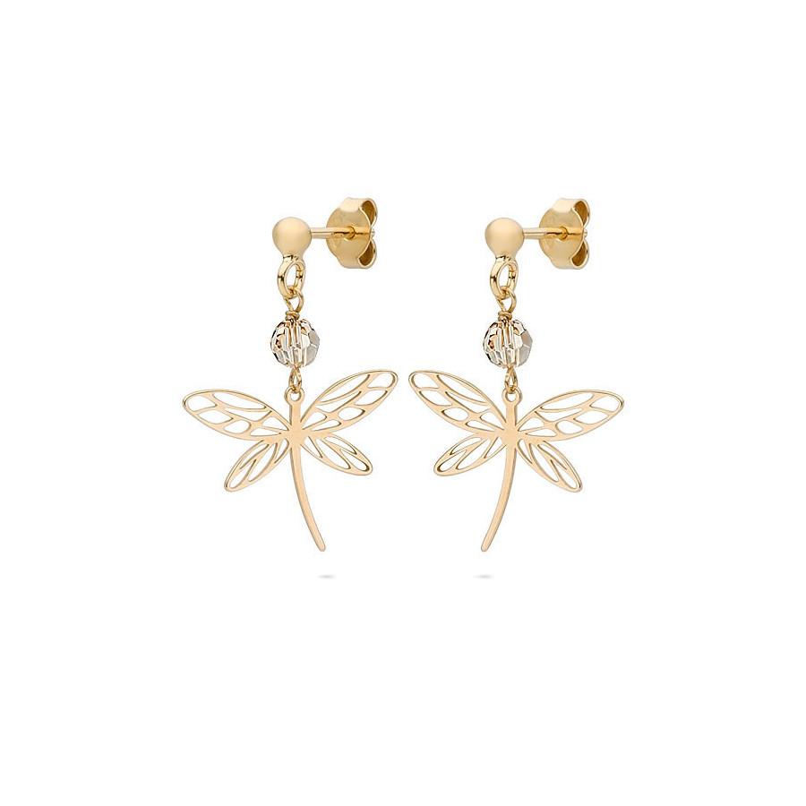 Kolczyki kolor złoty kryształ Swarovski 4 mm