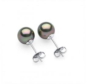 Kolczyki kolor beżowy-cappucino perła 8 mm