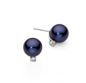 Kolczyki kolor granatowy cyrkonie perła 10 mm