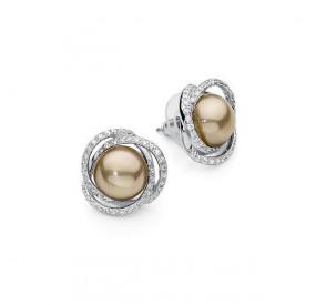 Kolczyki kolor złoty cyrkonie perła 10 mm