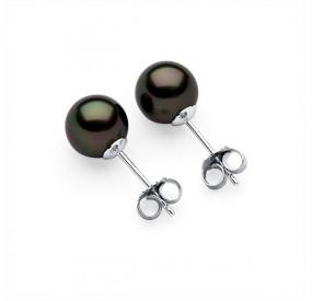 Kolczyki kolor zielony-ciemny perła 8 mm