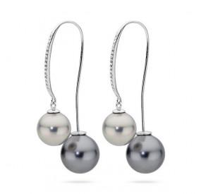 Kolczyki kolor srebrny grafitowy cyrkonie perła 12 mm