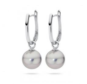 Kolczyki kolor srebrny perła 12 mm