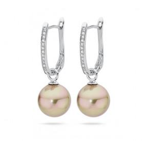 Kolczyki kolor złoty cyrkonie perła 12 mm
