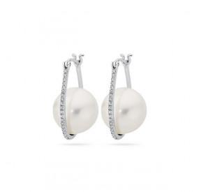 Kolczyki kolor biały cyrkonie perła 12 mm