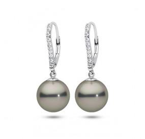 Kolczyki kolor srebrny cyrkonie perła 12 mm