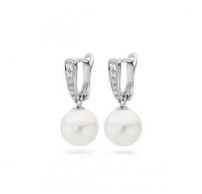 Kolczyki kolor biały cyrkonie perła 10 mm