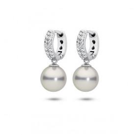 Kolczyki kolor srebrny cyrkonie perła 10 mm