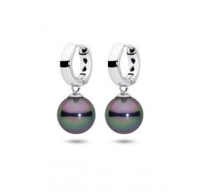 Kolczyki kolor fioletowy-benzynowy perła 10 mm