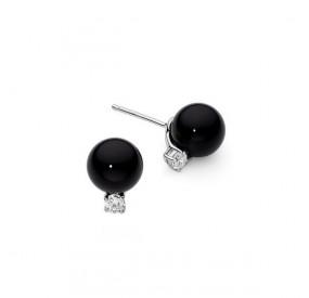 Kolczyki kolor czarny cyrkonie perła 6 mm