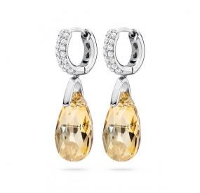 Kolczyki kolor złoty cyrkonie kryształ Swarovski 16 mm