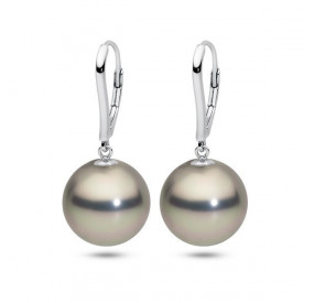 Kolczyki kolor srebrny-jasny perła 14 mm