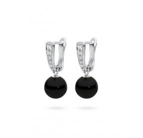 Kolczyki kolor czarny cyrkonie perła 8 mm