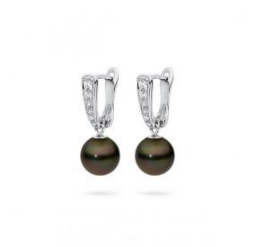 Kolczyki kolor brązowy-ciemny cyrkonie perła 8 mm