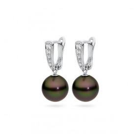 Kolczyki kolor brązowy-ciemny cyrkonie perła 10 mm
