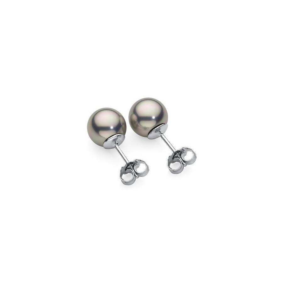 Kolczyki kolor srebrny-jasny perła 8 mm