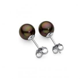 Kolczyki kolor brązowy-ciemny perła 8 mm