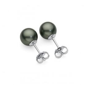 Kolczyki kolor zielony perła 8 mm