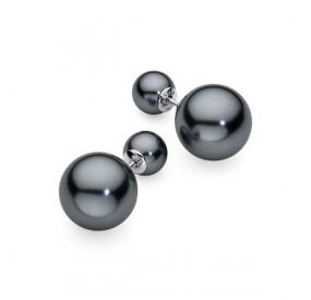 Kolczyki kolor grafitowy-ciemny perła 8 mm 14 mm