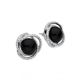 Kolczyki kolor czarny cyrkonie perła 10 mm