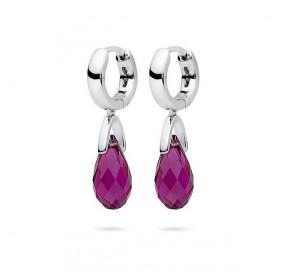 Kolczyki kolor różowy-fuksja kryształ Swarovski 12 mm