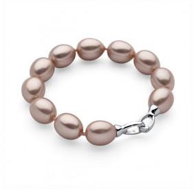 Bransoletka kolor różowy-pudrowy perła 12 x 15 mm