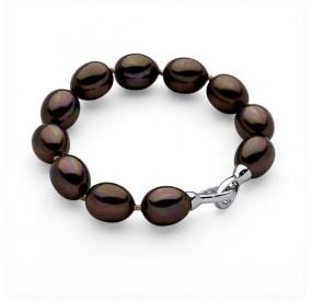 Bransoletka kolor brązowy-ciemny perła 12 x 15 mm